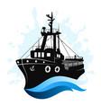 fishing ship at sea vector image vector image
