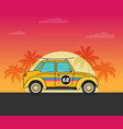 flat old car on beach vector image vector image