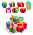 gift boxes set with red ribbon and bow vector image vector image