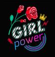 girls power slogan print embroidery t-shirt vector image vector image