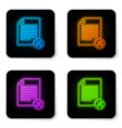 glowing neon file document with screwdriver and vector image vector image