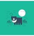 Grizzly bear outdoor simple cartoon vector image