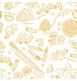 hand drawn pasta pattern vintage line art vector image