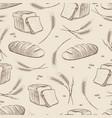 hand drawn wheat and bread seamless pattern vector image vector image