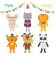 happy birthday card with cute cartoon animals vector image vector image