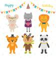 happy birthday card with cute cartoon animals vector image