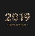 happy new year 2019 background with animal print vector image vector image