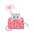 happy valentines day cute little cat on gift box vector image vector image
