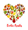 heart with exotic tropical fruits for food design vector image vector image