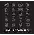 mobile commerce editable line icons set on vector image vector image