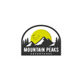 mountain peaks logo designs with sun and wildness vector image vector image