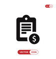 notepad icon with dollar sign vector image vector image