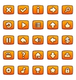 Orange buttons for game interface vector image vector image