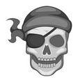 pirate skull in bandane icon monochrome vector image vector image
