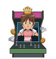 princess videogame character cartoon on arcade vector image vector image