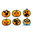 pumpkin emotions set for halloween vector image