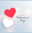 red and white two hearts valentines day background vector image vector image