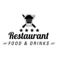 restaurant food drinks logo chef hat background vector image