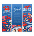 seafood banner fish and shellfish vector image vector image