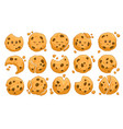 set cookies with crumbs and missing bites vector image