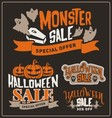 set halloween sale promotion badges and labels vector image vector image