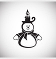 snowman with candle on white background vector image vector image