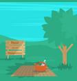 summer picnic in rural landscape vector image vector image