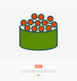 sushi with fish caviar thin line icon vector image
