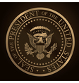 US Golden Presidential Seal Emboss vector image