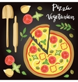 Vegetarian Pizza with vector image vector image