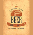 vintage banner on theme draught beer vector image vector image