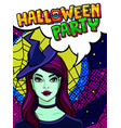 witch and halloween party message vector image vector image