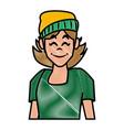 woman profile smiling cartoon vector image vector image