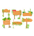 wooden jungle signposts flat vector image vector image