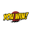 you win word text with thunder greeting theme vector image vector image