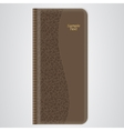 Brown leather organizer for records with gold vector image