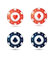 Casino chips with card suits symbols on white vector image
