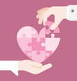 bride and grooming hands holding heart jigsaw vector image