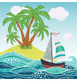 ship sun tropical sea island with palm trees and vector image