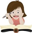 A girl read book vector image