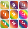 toilet icon Nine buttons with bright gradients for vector image