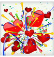 Abstract holiday background of explosion heart vector image vector image