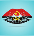 angola flag lipstick on the lips isolated on a vector image vector image