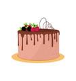 big round birthday or wedding cake with chocolate vector image