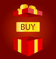 big sale open gift box concept of prize or bonus vector image