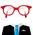 Blue Tie Suit with Empty Face Glasses vector image