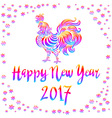 Bright Rainbow Colored rooster symbol of 2017 on vector image