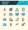 business startup icons filled outline design vector image