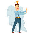 businessman angel with wings and halo stopping vector image vector image