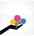 Businessman holds gear on his hand vector image vector image